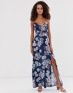 Платье макси с запахом спереди и цветочным принтом Parisian - Темно-синий