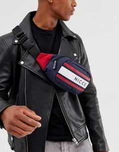 Темно-синяя сумка-кошелек на пояс с полосками и логотипом Nicce - Темно-синий