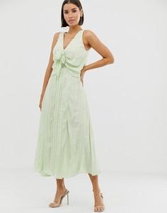 Плиссированное платье макси с декоративным узлом ASOS DESIGN - Зеленый