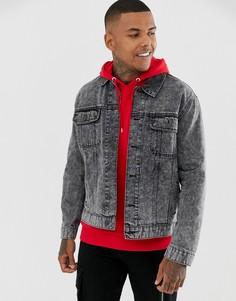 Черная джинсовая куртка-oversize с эффектом кислотной стирки ASOS DESIGN - Черный