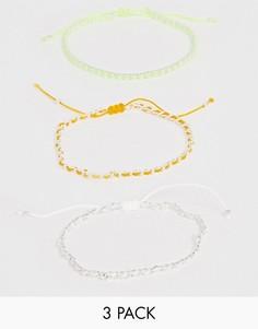 Набор браслетов разных дизайнов с неоновой отделкой и шариковой цепочкой ASOS DESIGN - Желтый