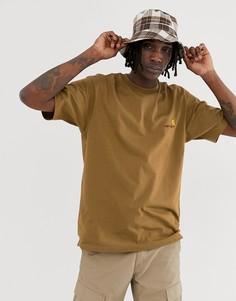 Коричневая футболка с надписью Carhartt WIP American - Коричневый