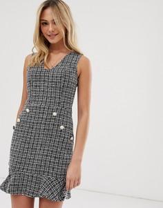Твидовое платье с расклешенным подолом и пуговицами с искусственным жемчугом Parisian - Черный