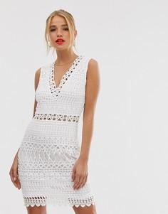 Кружевное платье мини без рукавов Parisian - Белый
