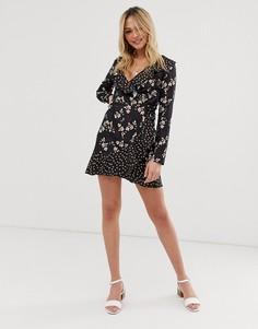Платье с запахом и цветочным принтом Parisian - Черный