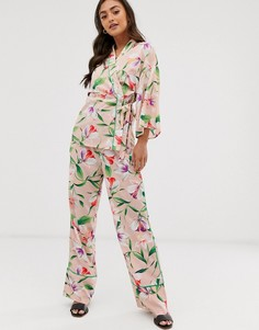 Широкие брюки от комплекта с цветочным принтом и зеленым кантом Liquorish - Мульти