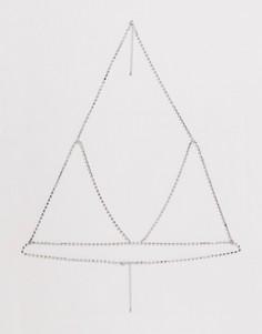 Серебристый бралетт с кристаллами ASOS DESIGN - Серебряный