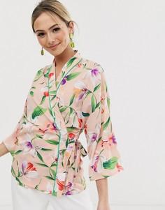 Блузка с цветочным принтом, запахом и контрастным кантом Liquorish - Мульти