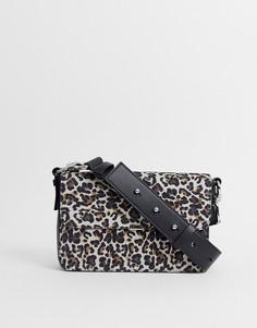 Кожаная сумка через плечо с леопардовым принтом AllSaints - Черный