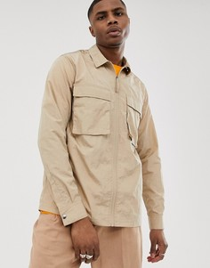 Рубашка-куртка песочного цвета на молнии с карманами в стиле милитари ASOS DESIGN - Кремовый