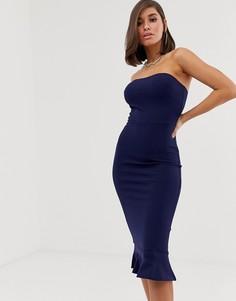 Платье-бандо миди с подолом годе Club L London - Темно-синий