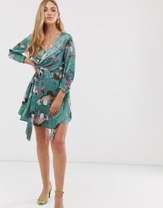 Платье с запахом и принтом Liquorish - Зеленый