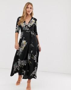 Платье макси с принтом птиц и запахом Liquorish - Черный