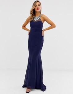 Шифоновое платье макси с отделкой City Goddess - Темно-синий