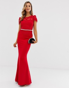 Платье макси с фигурным краем City Goddess - Красный