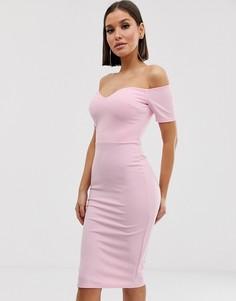 Платье миди с открытыми плечами Club L London - Розовый