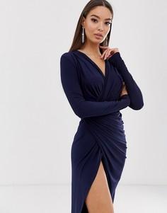 Платье макси с запахом и перекрученной отделкой на талии Club L London - Темно-синий