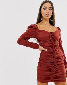 Атласное платье мини Club L London - Коричневый