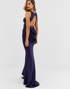 Платье макси с кружевом на лифе и открытой спиной City Goddess - Темно-синий