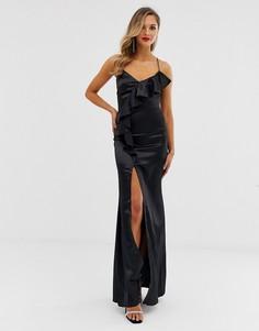 Атласное платье макси с оборками и разрезом City goddess - Черный