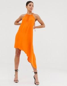 Асимметричное платье с завязкой на воротнике Club L London - Оранжевый
