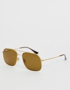 Квадратные солнцезащитные очки-авиаторы с поляризованными стеклами Ray-Ban 0RB3595 - Золотой