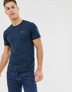 Синяя футболка с логотипом и рукавами летучая мышь Levis - Темно-синий