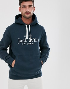 Худи темно-синего цвета с логотипом на груди Jack Wills Ampthill - Темно-синий