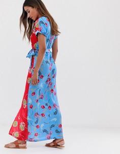 Платье миди с запахом и комбинированным цветочным принтом Liquorish - Мульти