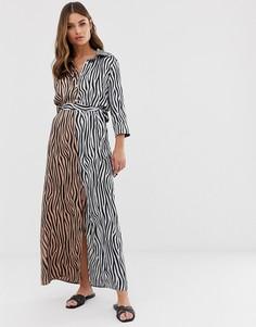 Платье-рубашка миди с комбинированным тигровым принтом и поясом Liquorish - Мульти