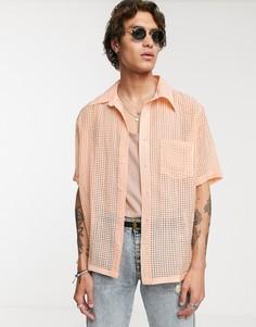 Оранжевая прозрачная рубашка с выжженным эффектом Heart & Dagger - Оранжевый