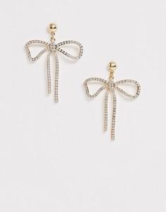 Золотистые серьги с бантом и камнями ASOS DESIGN - Золотой
