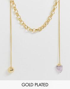 Позолоченное массивное ожерелье с элементами с разным дизайном ASOS DESIGN premium - Золотой