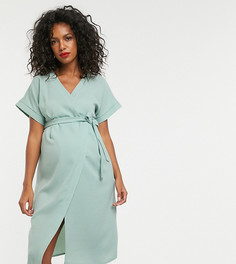 Платье миди с запахом ASOS DESIGN Maternity - Зеленый