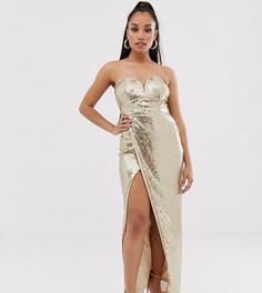 b623d47fc7f4 Платье-бандо макси с пайетками золотистого цвета и разрезом TFNC Petite -  Золотой