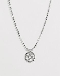 Серебристое ожерелье с шариковой цепочкой и подвеской ASOS DESIGN - Серебряный