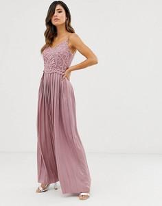 Платье макси с бисером и атласной юбкой Little Mistress - Розовый