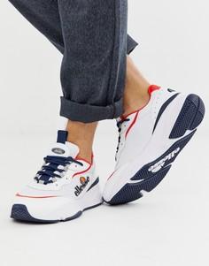 Белые массивные кроссовки с красной отделкой ellesse massello - Белый