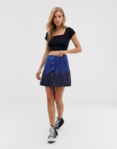 Темно-синяя мини-юбка из искусственной замши на пуговицах Glamorous - Синий