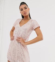 Платье-футболка мини с полосками из розовых и серебристых пайеток TFNC - Мульти