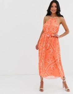 Свободное плиссированное платье оранжевого цвета с принтом Lipsy - Мульти