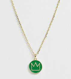 Цепочка из позолоченного серебра с зеленой эмалью и короной на подвеске Serge DeNimes - Золотой