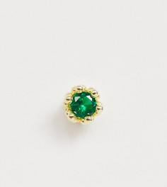 Серьга-гвоздик из позолоченного серебра с зеленым камнем Serge DeNimes - Золотой