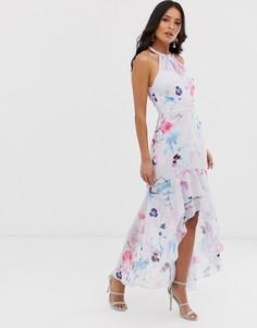 Платье макси с оборками и разноцветным цветочным принтом Lipsy - Мульти