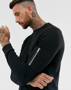 Черный лонгслив с карманом MA1 на молнии на рукаве ASOS DESIGN - Черный