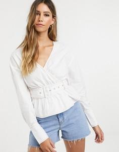 Блузка с запахом и поясом Neon Rose - Белый