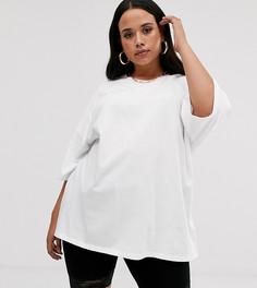 Белая oversize-футболка со строчками ASOS DESIGN Curve - Белый