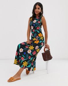 Свободное платье макси с цветочным принтом в стиле ретро Neon Rose - Мульти
