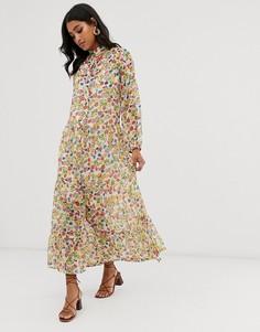 Платье-рубашка макси с винтажным цветочным принтом Neon Rose - Мульти
