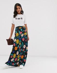 Юбка макси с цветочным принтом в стиле ретро Neon Rose - Мульти